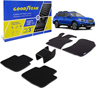 Goodyear Custom Fit Car Floor Liners for Subaru Outback 2015-2019, Black/Black 5 Pc. Set, All-Weather Diamond Shape Liner ...