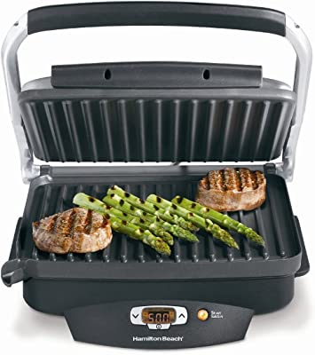 Hamilton Beach Steak Lover's Electric Indoor Searing Grill, Nonstick 100 Square, Stainless Steel (25331), Black and Stainless, Medium