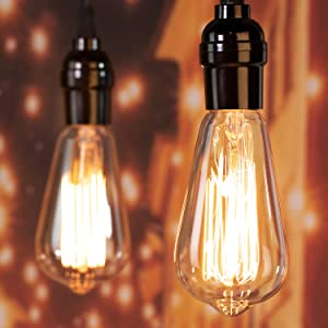 Minetom Edison Light Bulbs 60W 4 Pack Amber Incandescent Lamp E26 E27 Base ST64 Pear Shaped 2700K Warm White Dimmable Antique Carbon Filament Squirrel Cage Bulbs for Home Industrial-Chic Decorative