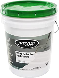 Jetcoat Cool King Elastomeric Acrylic Reflective Roof Coating, White, 5 Gallon, 5 Year Protection