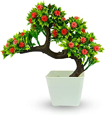 Reiki Crystal Products Flower Bonsai Tree - Artificial Tree - Bonsai Plant - Bonsai Tree with Pot - Bonsai Plant with Pot - Bonsai Flora with Pot for Indoor/Office/Home Decor