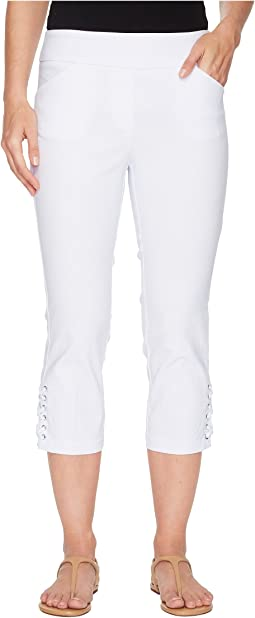 "Stretch Bengaline 22"" Pull-On Flatten It Capris with Lace-Up Detail"