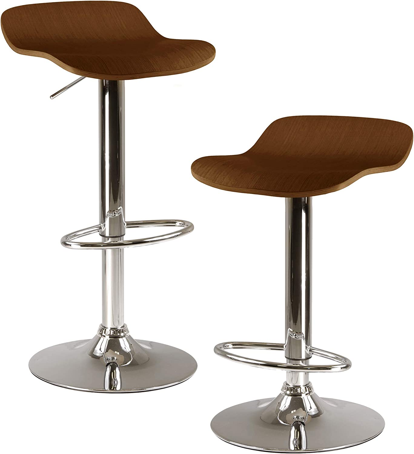 Winsome Wood Kallie Air Lift Adjustable Stools in Wood Veneer with Cappuccino color and Metal Base, Set of 2