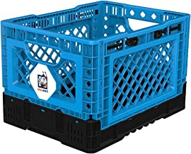BIGANT Heavy Duty Collapsible & Stackable Plastic Milk Crate - IP403026, 26 Quarts, Small Size, Blue, Set of 1, Snap Lock ...