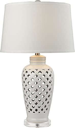 2021 Diamond D2621 Elk Lighting Openwork Ceramic Table Lamp new arrival White Shade, 16W X 16D X lowest 27H, 27 outlet sale