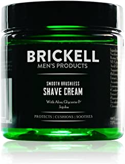 Brickell Men's Smooth Brushless Shave Cream for Men, Natural and Organic Smooth Shaving Lotion to Fight Nicks, Cuts and Ra...