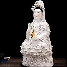 Decoration Buddha Statue of Guanyin Household Ceramic Buddhist Statue Religious Supplies Home Decoration 18×13.5×30cm 20.5...