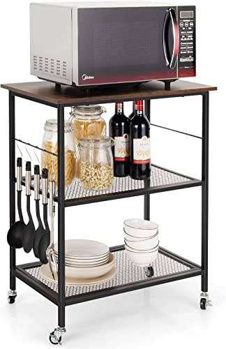2021 Giantex new arrival 3 Tier Kitchen Island Rolling Cart, Kitchen Bake's Rack Trolley Cart w/ Lockable Universal Wheel, new arrival 5 Hanging Hooks, Easy Assembly Industrial Vintage Kitchen Serving Rolling Carts online sale