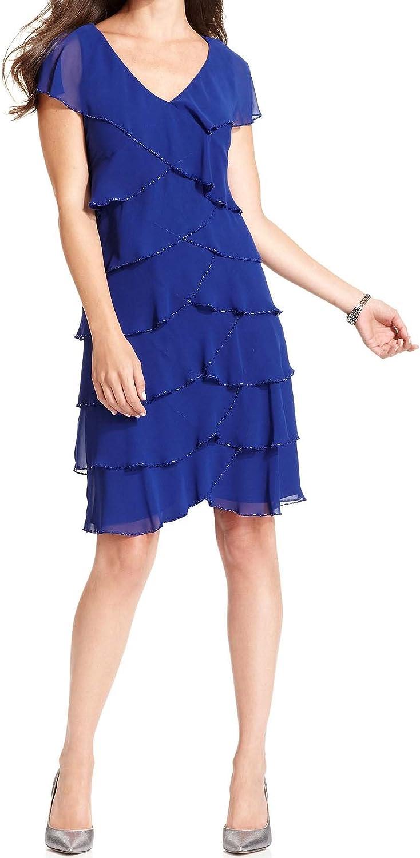 Patra Women's Shortsleeve Beaded Tie Sapphire Dark bluee Dress,4