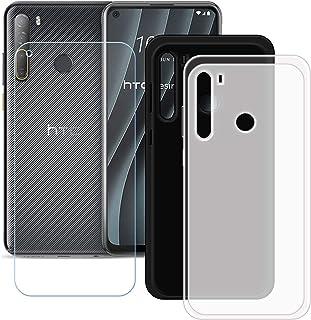 TTJ Svart + genomskinligt skal för HTC Desire 20 Pro + HD pansarglas, mobiltelefonfodral silikon skyddande fodral TPU Case...