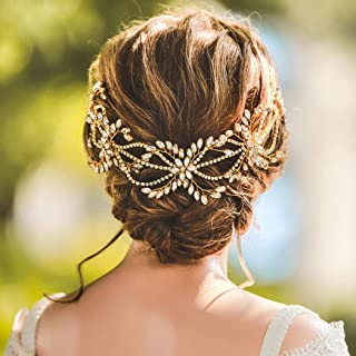 Unicra Wedding Crystal Hair Vine Bridal Flower Headpiece Chain Headbands Wedding Gold Hair Accessories for Brides and Bridesmaids(5.12inches)