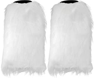 Skeleteen Boot Cuff Leg Warmers - Fluffy White Faux Fur Boots Warmer Cuffs for Women and Girls