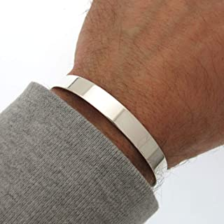 Sterling Silver Plain Cuff bracelet. Flat Cuff Bangle for Men. High Polished Silver Cuff. Mens Cuff Bracelet. Solid Sterling Silver 925