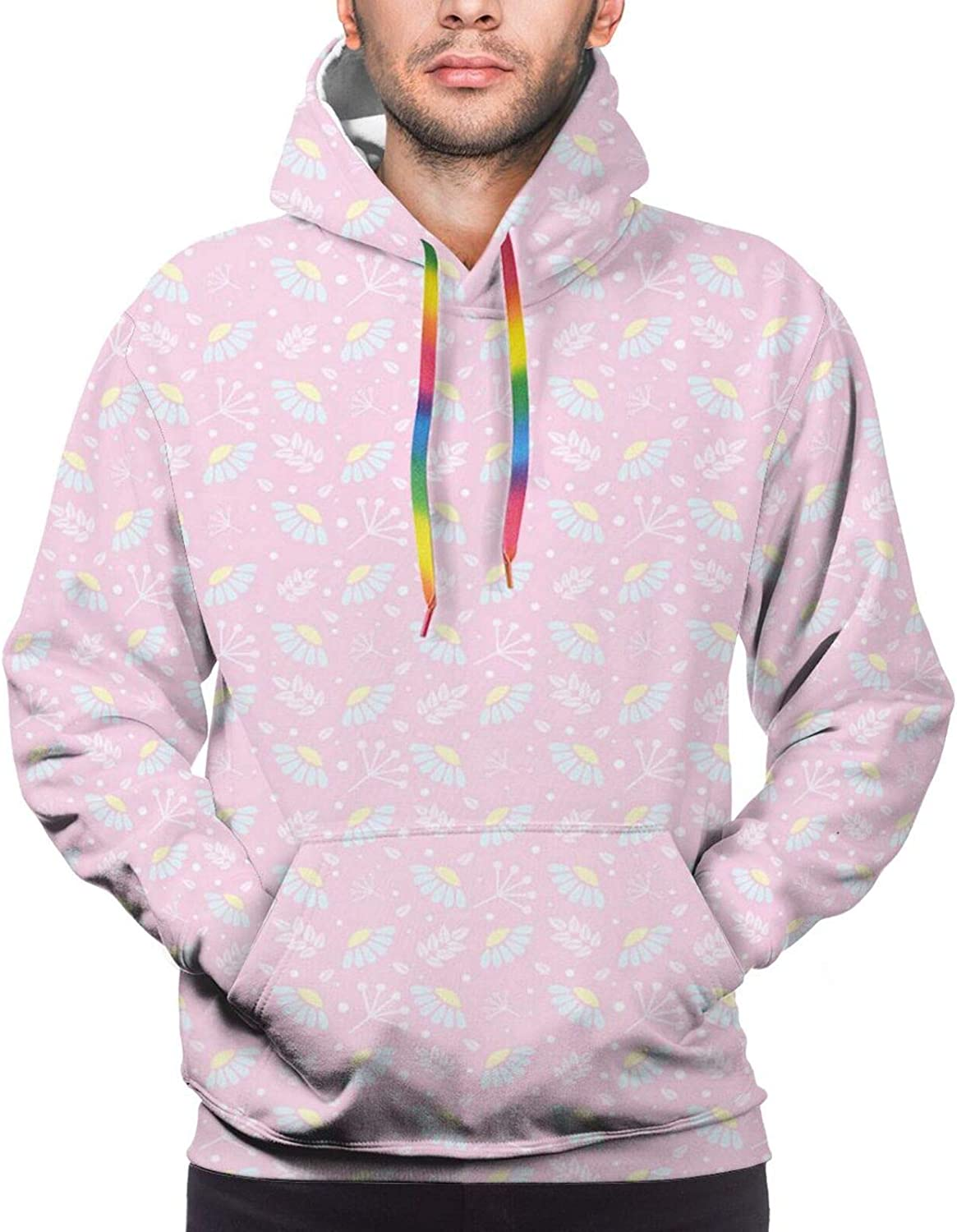 Men's Hoodies Sweatshirts,Lovely Illustration with Colorful Flower Petals On Vertical Stripes Graphic