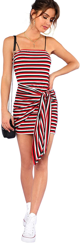 Floerns Women's Spaghetti Strap Striped Bodycon Mini Dress