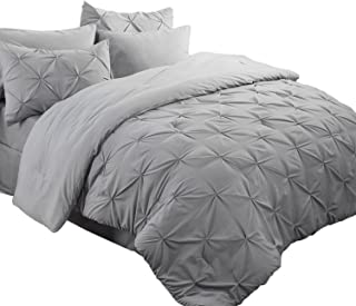 Bedsure 6 Pieces Pinch Pleat Down Alternative Comforter Set Twin Size (68X88 inches) Solid Grey Bed in A Bag (Comforter, 1 Pillow Sham, Flat Sheet, Fitted Sheet, Bed Skirt, 1 Pillowcase)