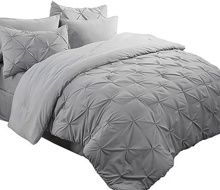 "Bedsure 8 Piece Pinch Pleat Down Alternative Comforter Set Queen Size (88""X88"") Solid Grey Bed in A Bag (Comforter, 2 Pillow Shams, Flat Sheet, Fitted Sheet, Bed Skirt, 2 Pillowcases)"