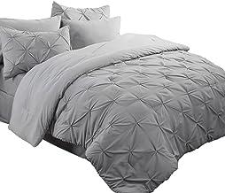 """تخت خواب 8 تکه Pinch Pleat Down گزینه راحتی راحت ملکه (88 """"X88"""") تخت خاکستری جامد در یک کیسه (راحتی ، 2 بالشت شمس ، ورق تخت ، ورق مناسب ، دامن تخت ، 2 بالش)"""