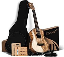 Caramel CT103A High Gloss Zebrawood Tenor Acoustic Ukulele with Extra Strings, Padded Gig Bag, Strap and Picks