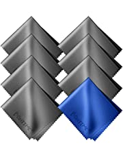 BONTIME クリーニングクロス マイクロファイバー 20cm×18cm (8枚セット/個別包装) グレー&ブルー
