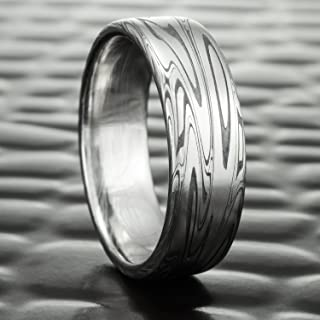 Flat Damascus Steel Wedding Ring with Fire Oxide   SWIRLING CURRENT