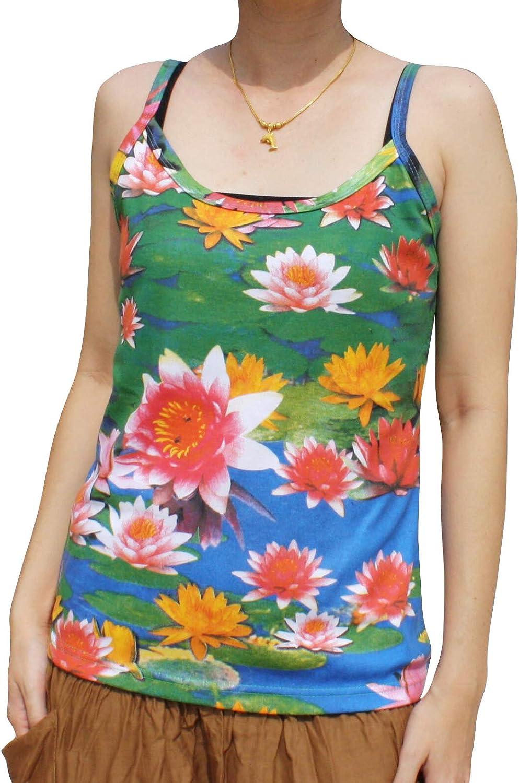 RaanPahMuang Mixed Asian Lotus Blossoms  Ladies Spaghetti Strap Summer Shirt