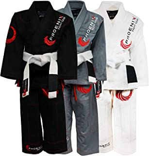Phoenix Fight Gear Talon Kids Brazilian Jui Jitsu Gi, Childs BJJ Gi Available in Black, White or Grey