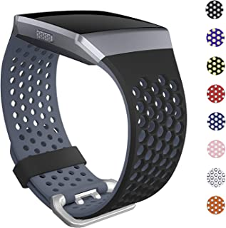 SKYLET Bands Compatible with Fitbit Ionic,  Soft Silicone Breathable Replacement Wristband Compatible with Fitbit Ionic Smart Watch with Buckle [Black-Gray,  Large]