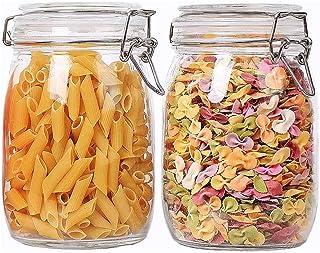 Annfly Lot de 2 bocaux de rangement en verre avec couvercle hermétique à charnière et joint anti-fuite pour la cuisine (75...