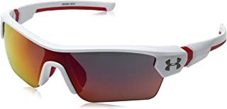 Under Armour Wrap Sunglasses, UA Menace Shiny White/RED Frame/Gray Infrared MULTIFLECTION Lens, Youth