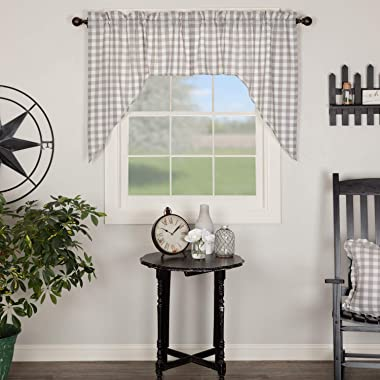 VHC Brands Farmhouse Kitchen Window Curtains-Annie Buffalo Check White Lined Swag Pair, 36x36x16, Grey