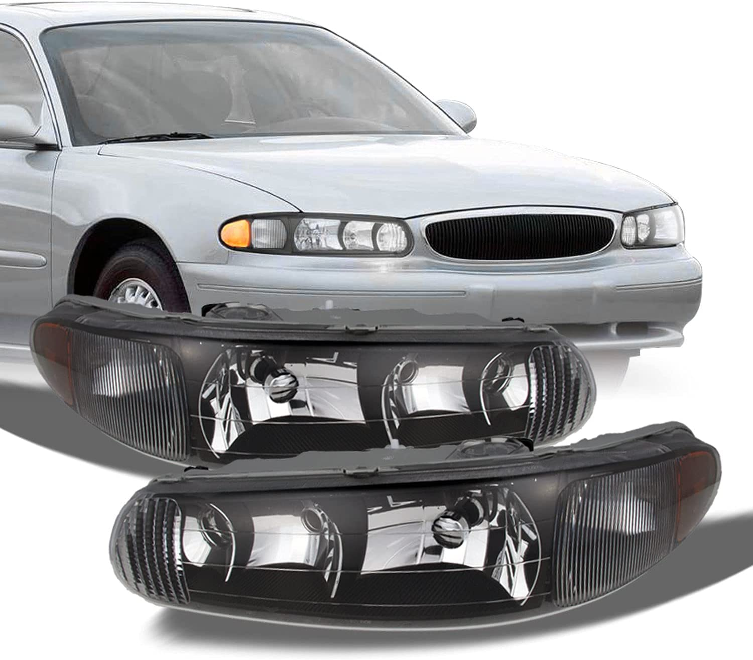 For Buick Century Regal OE Headlights Cheap mail order specialty store Replacement Dr Black Sales results No. 1 Bezel