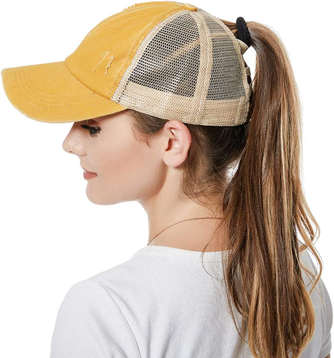 Baseball Cap Retro Adjustable Washed Distressed Ponytail Bun Sun Hat for Women and Girls Trucker Caps