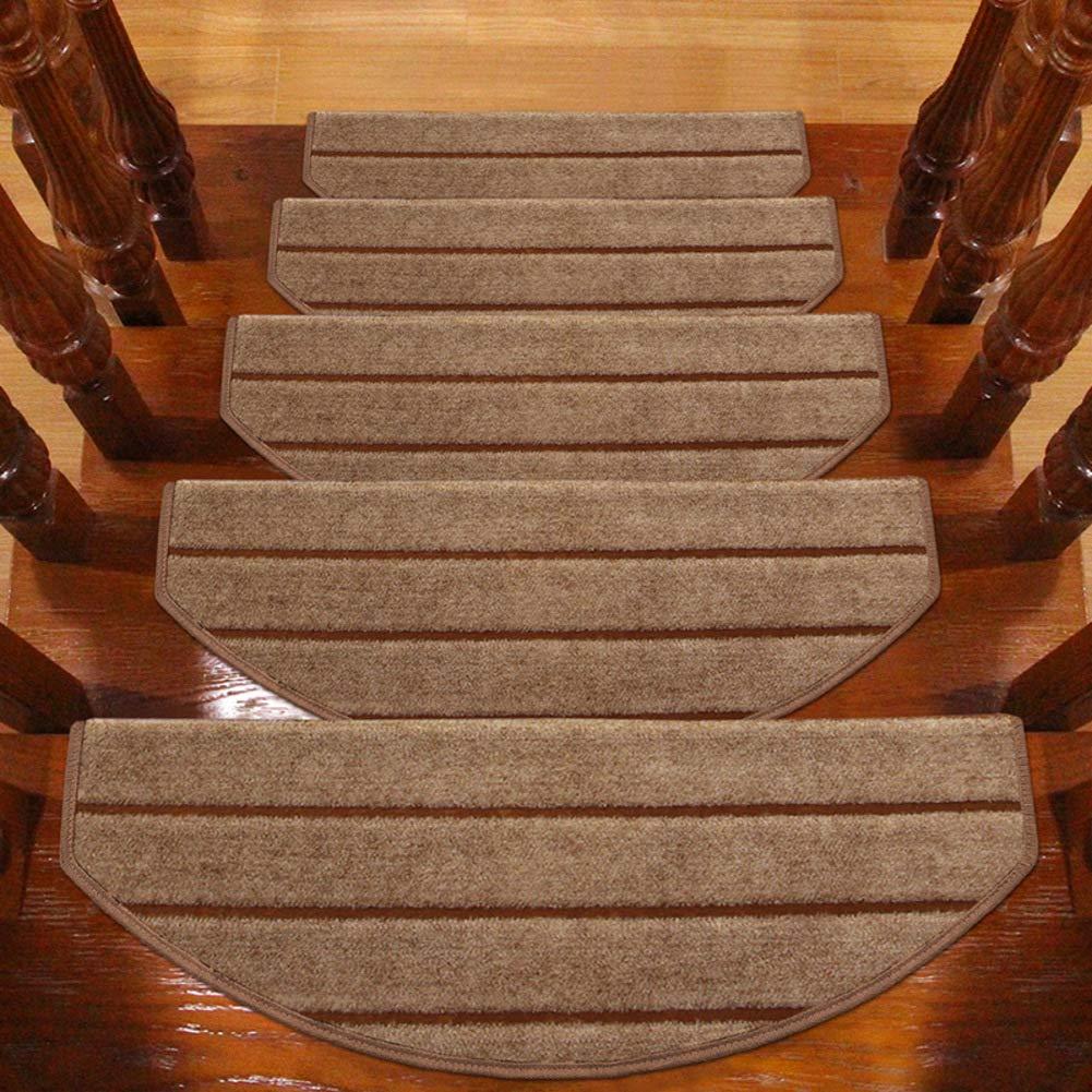 QTDZ Raya Resbalón Anti Peldaños Escaleras, Movible Escalera Escalera Alfombrillas Step Carpet Alfombras para Madera Azulejo Mármol Interiores Superficie De Escaleras Al Aire Libre-marrón 2(35x9inch): Amazon.es: Hogar
