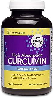 InnovixLabs Curcumin Turmeric w/ C3 Reduct, C3 Complex & BioPerine Black Pepper for Higher Absorption, 100 Time-Release Ta...