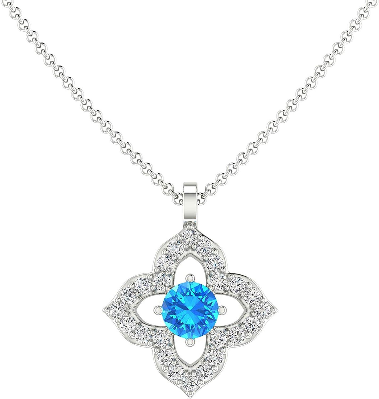 Blue Topaz Pendant Department store 14k Portland Mall Gold Necklace Diamond F Women for