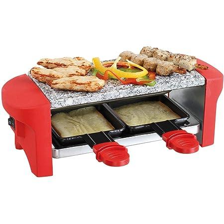 Appareil à raclette pour 2 personnes - Plaque en pierre - Grill électrique - 350 W - Plaque en granit, 2 poêlons - Revêtement anti-adhésif - Rouge