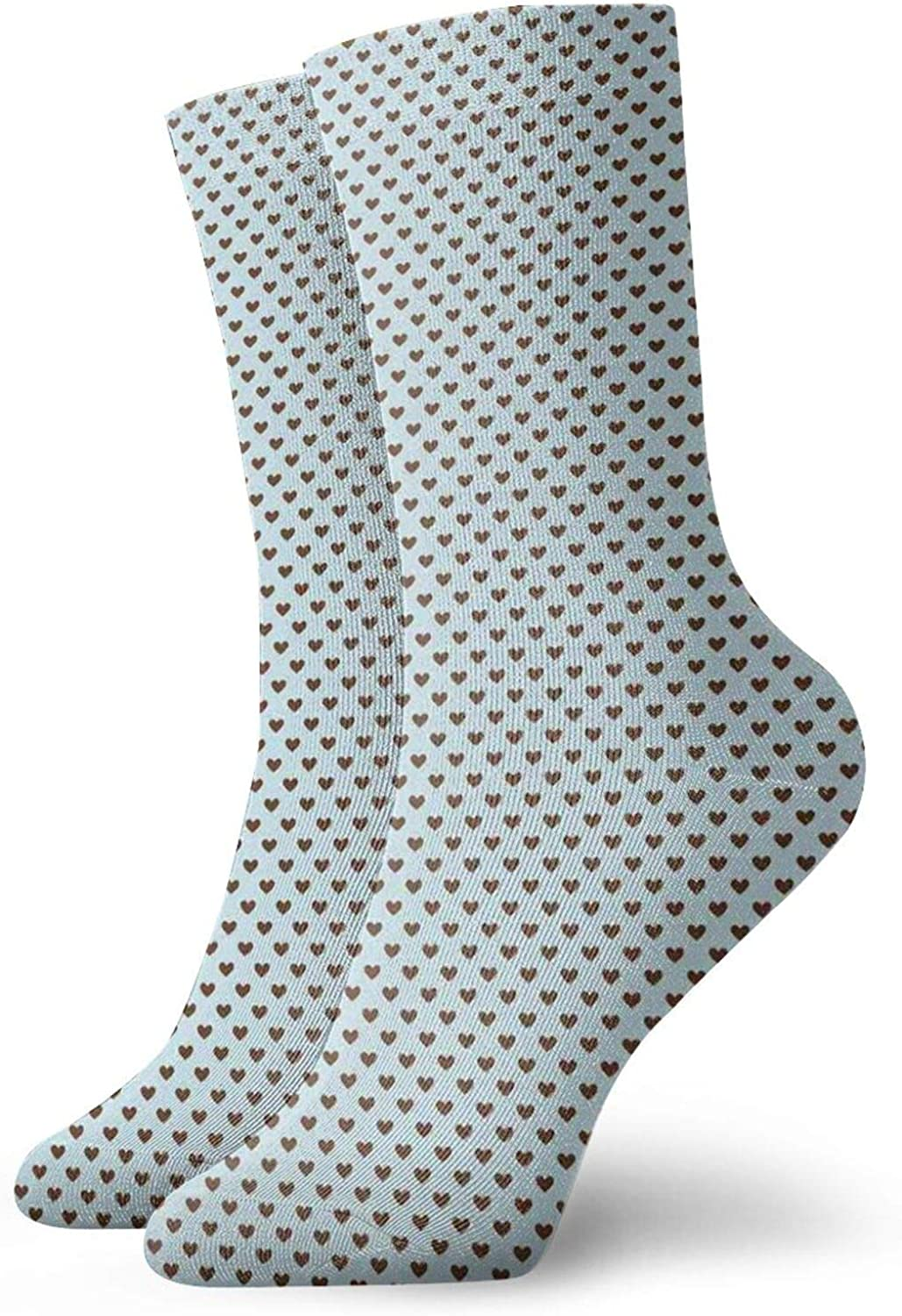 Compression High Socks-Little Hearts In Brown With Distressed Look Romantic Love Theme Best for Running,Athletic,Hiking,Travel,Flight