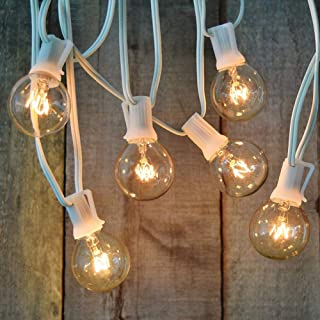 Monkeydg 100FT Globe String Lights G40 with 102 Clear Bulbs Indoor Outdoor Patio,Market,Cafe,Garden,Birthday,Wedding Backyard String Lights-5 Watt/120 Voltage/E12 Base -White Wire