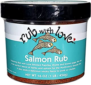 Rub with Love Salmon Rub Seasoning (16 oz.) All-Natural Herbs and Spices | Classic Dry Rub for Fish, Chicken, Pork, or Steak | Rich, Smoky Flavor