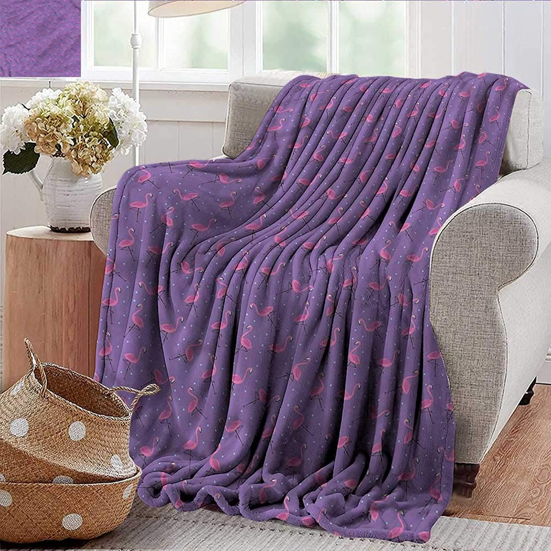 Xaviera Doherty Lightweight Blanket Flamingo,Dots Birds Kids Girls Microfiber All Season Blanket for Bed or Couch 50 x60