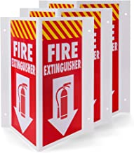 """3D Fire Extinguisher Sign, 3 Pack - Plastic Pre-Drilled Safety Wall Panel for Indoor & Outdoor Use - Projection Angle Warning Legend for Restaurant, Business, Home Security & Prevention, 10"""" x 8"""" x 4"""""""
