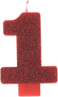 Numeral #1 Glitter Candle - Red, Party Favor