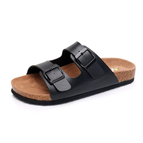 476d6a91ca5ee8 WTW Men s Slip on Flat Cork Sandals with Adjustable Strap Buckle Open Toe  Slippers Suede Footbed