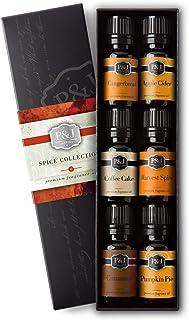 P&J Trading Spice Set of 6 Premium Grade Fragrance Oils - Cinnamon, Harvest Spice, Apple Cider, Coffee Cake, Gingerbread, Pumpkin Pie - 10ml
