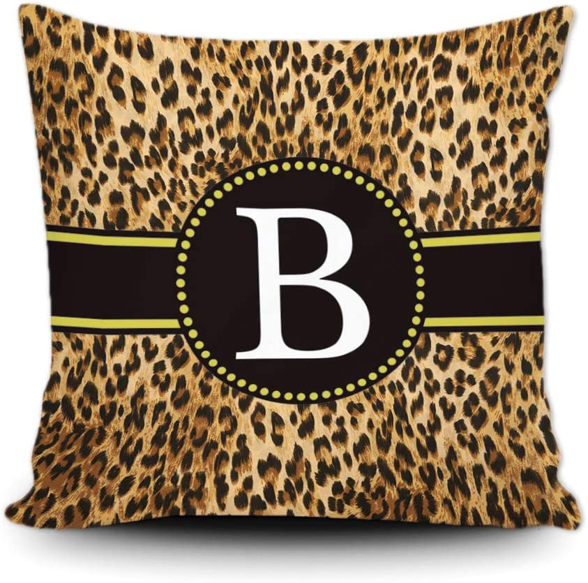 SVITFAMLI Leopard Print Pillow Case Animal Skin Pattern Letter Monogram B Decor Square Throw Cushion Cover for Sofa Couch 16 x 16 Inch Pillowcase, Double Sided Printing
