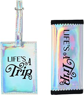 GForce Iridescent Verbiage Luggage Tag and Handle Gripper (2 piece Set)