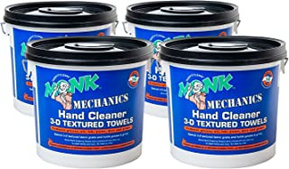 Monk Mechanics Heavy Duty Wipes, Large Shop and Mechanic Wipes, Multi-Purpose Surface and Hand Cleaning, 4 Buckets of 130 Count, Perfect for Removing or Cleaning Paint, Oil, Grease, Grime and More