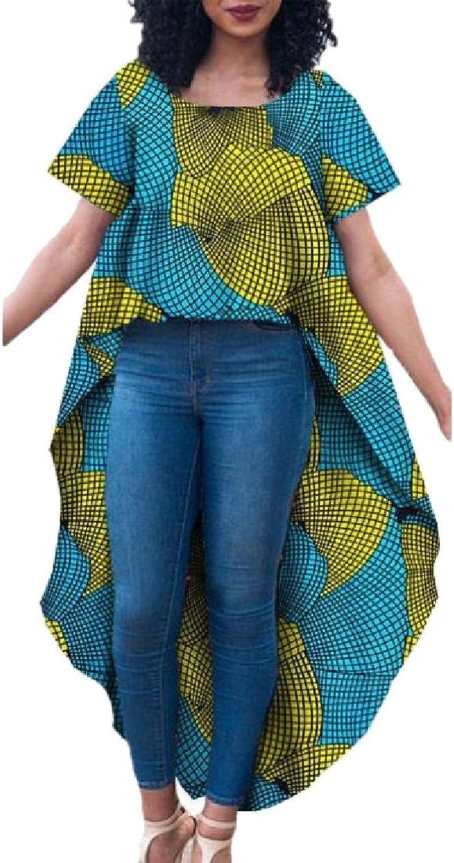 Cheelot Womens Tunic African Irregular Plus Size Short Sleeve Top Blouse