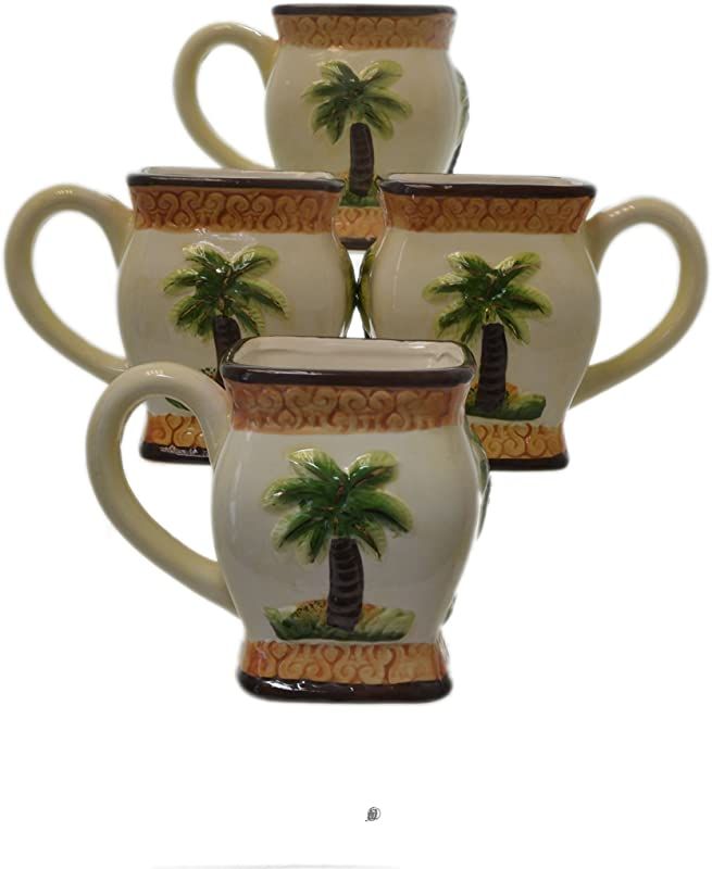 Set 4 Piece Palm Tree Tropical 3 D Handpainted Ceramic Tea Cups Coffee Mugs